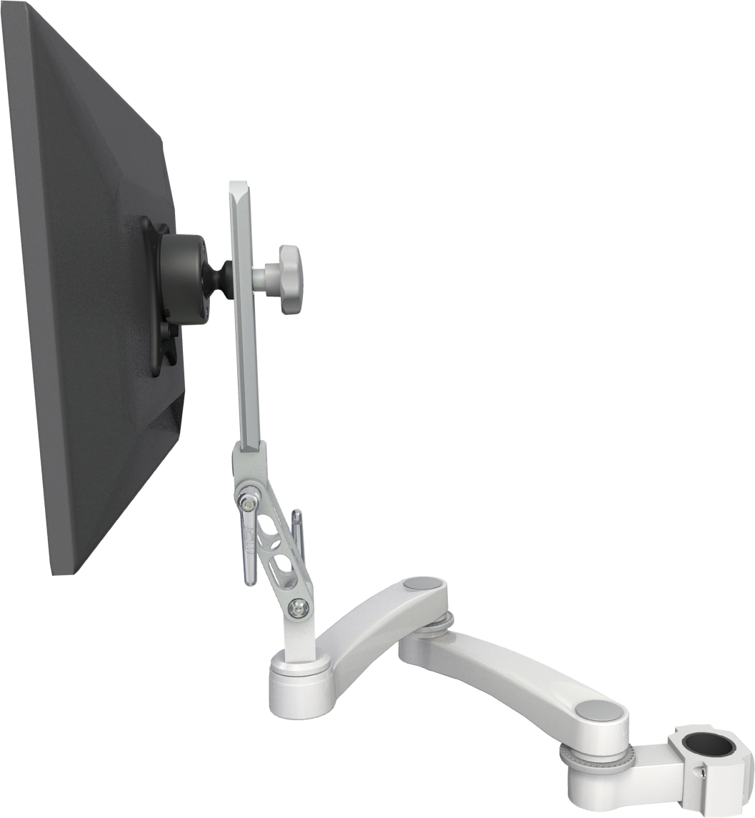 "The Ultra 510 LCD Pole Mount Arm is widely used in medical and dental environments as a monitor mount and can also be configured with a keyboard. This arm provides excellent reach and stowability. - Load capacity: 18 lbs (8.2 kg) - Maximum reach: 23"" (58 cm) with LCD only and 40"" (102 cm) with LCD and keyboard - Stowed depth: 4.5"" (11.4 cm) LCD only and 9.75"" (24.8 cm) with LCD and keyboard - Arm swivel at mount: 360° - Screen swivel: 360° - Screen tilt: 90°"