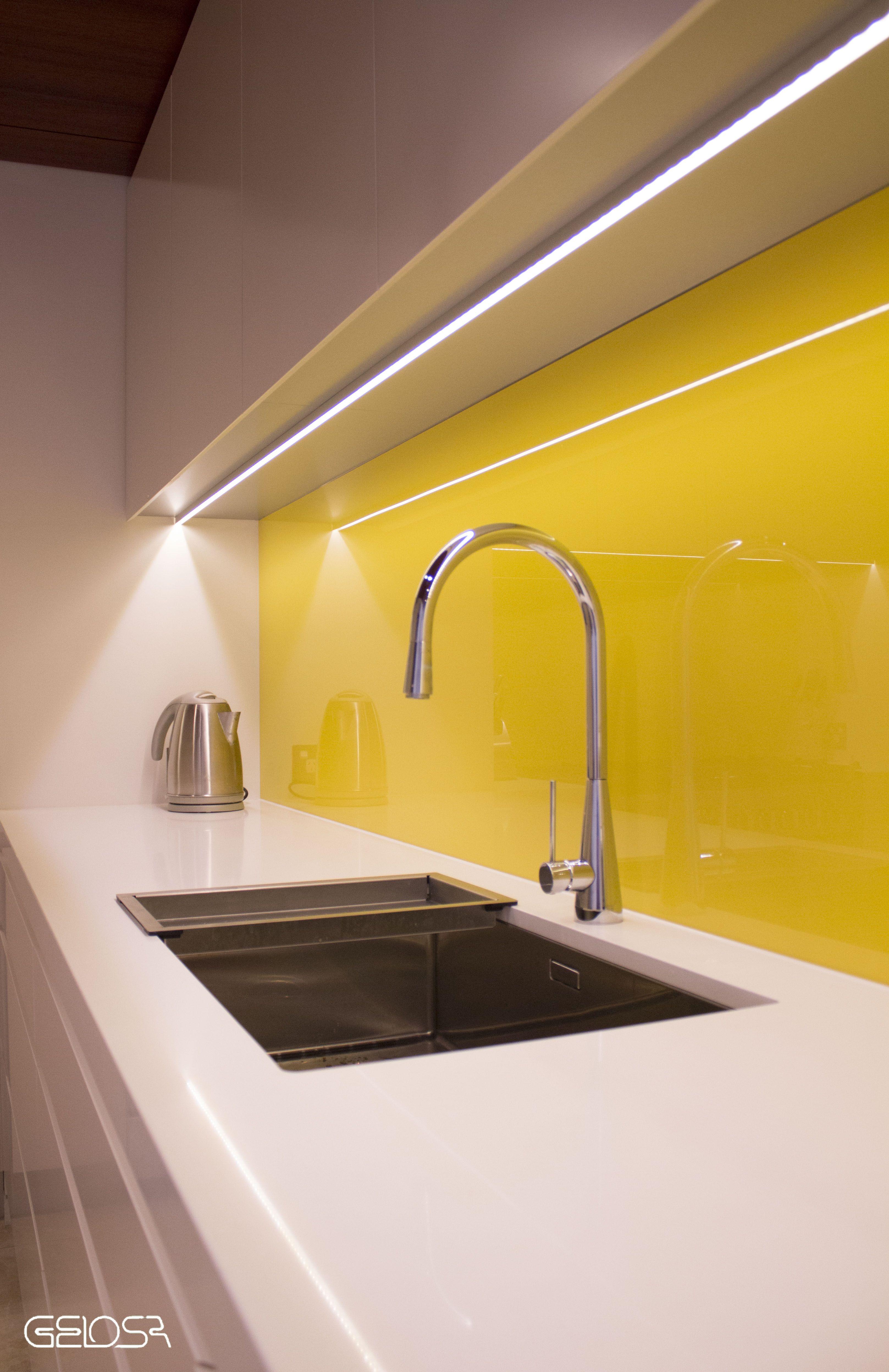 Gelosa Kitchen Undermount Sink Detail With Starphire Glass Splashback And Led Strip Lig Lighting Design Interior Kitchen Led Lighting Kitchen Lighting Design
