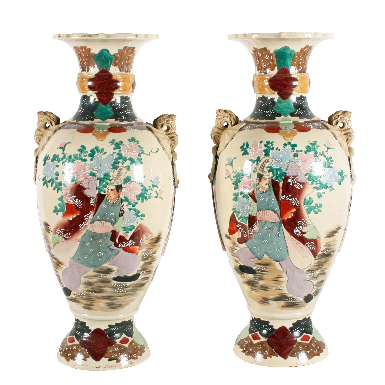 Pair Of Large Satsuma Vases Satsuma Vase Japanese Vase Pottery
