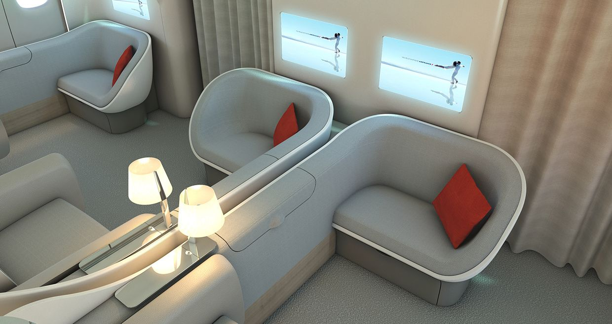 Air France first class seating Yacht interior design