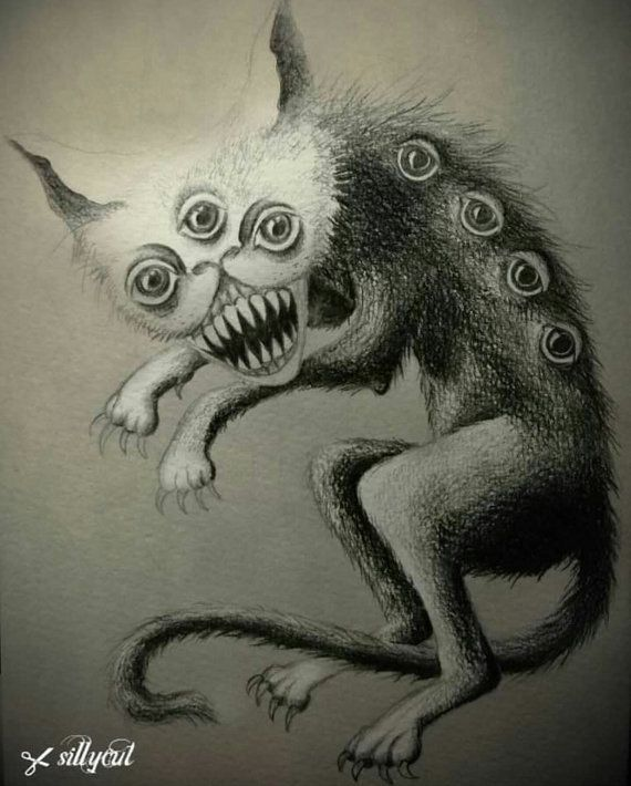 Original Drawing Creepy Cat Horror Halloween Gothic Creepy Cat