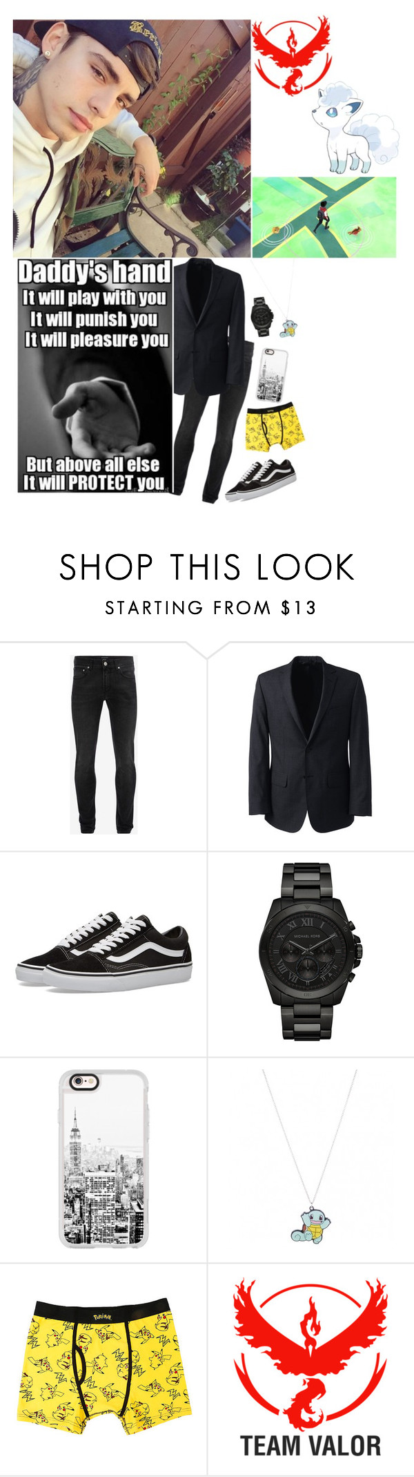 """""""— walks around playing Pokemon go —  x andrew"""" by emo-vampire-nicole ❤ liked on Polyvore featuring Alexander McQueen, Lands' End, Vans, Michael Kors, Casetify, Valor, men's fashion and menswear"""