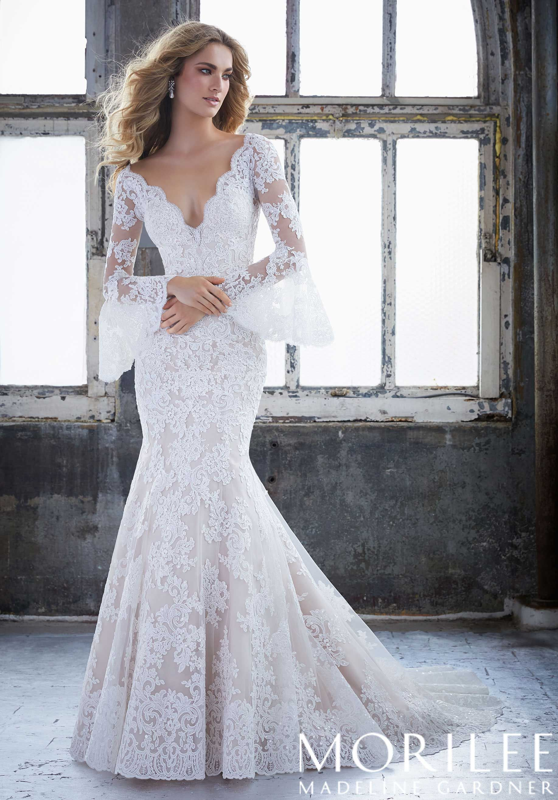Kendall Wedding Dress Morilee Fit And Flare Wedding Dress Wedding Dress Long Sleeve Bridal Dresses [ 2630 x 1834 Pixel ]