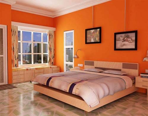 Bright Orange Bedroom Wall Painting With Neutral Colors