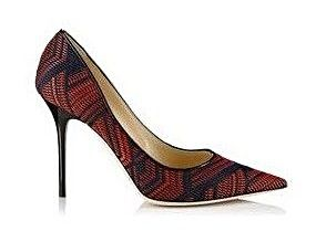jimmy choo abel red and navy woven fabric and patent pointy toe rh pinterest com
