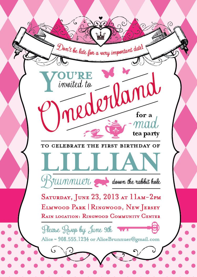 Alice in Wonderland Invitation - 1st Birthday Party   Pinterest ...