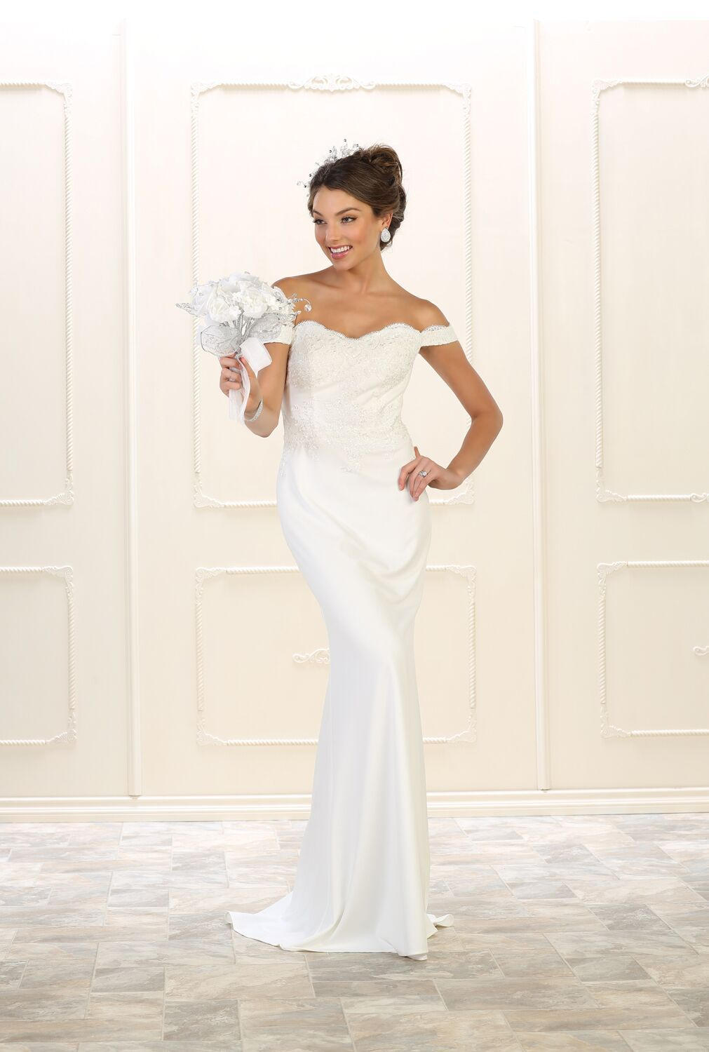 Long simple wedding dress plus size bridal gown products