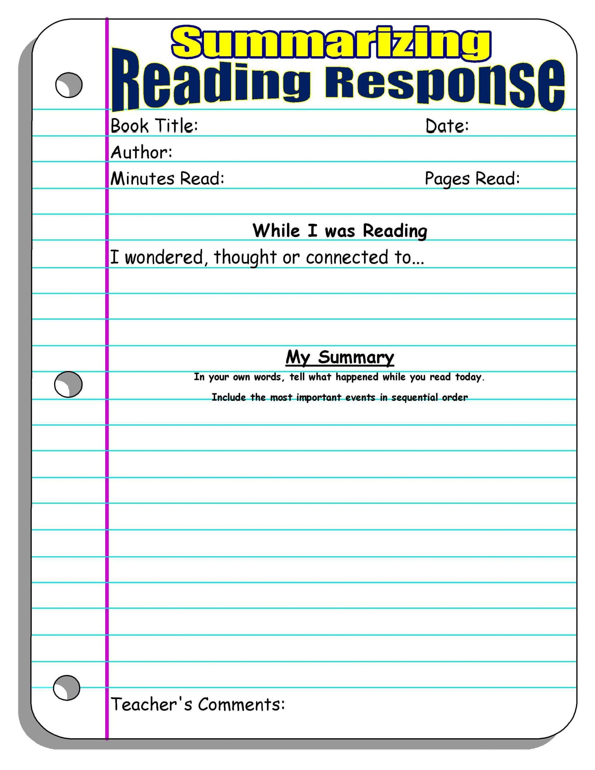 Summarizing Worksheet 4th Grade Reading Response Forms And