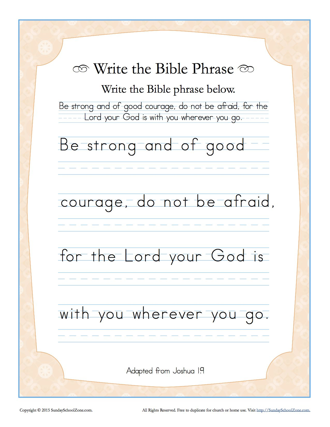 Joshua 1 9 Write The Bible Phrase Worksheet With Images