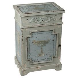 "Distressed end table with a painted urn motif and carved details.   Product: End table Construction Material: Wood Color: Distressed gray and blue Features: Carved detailing adds interest and whimsyDimensions: 28"" H x 19.5"" W x 14"" D"