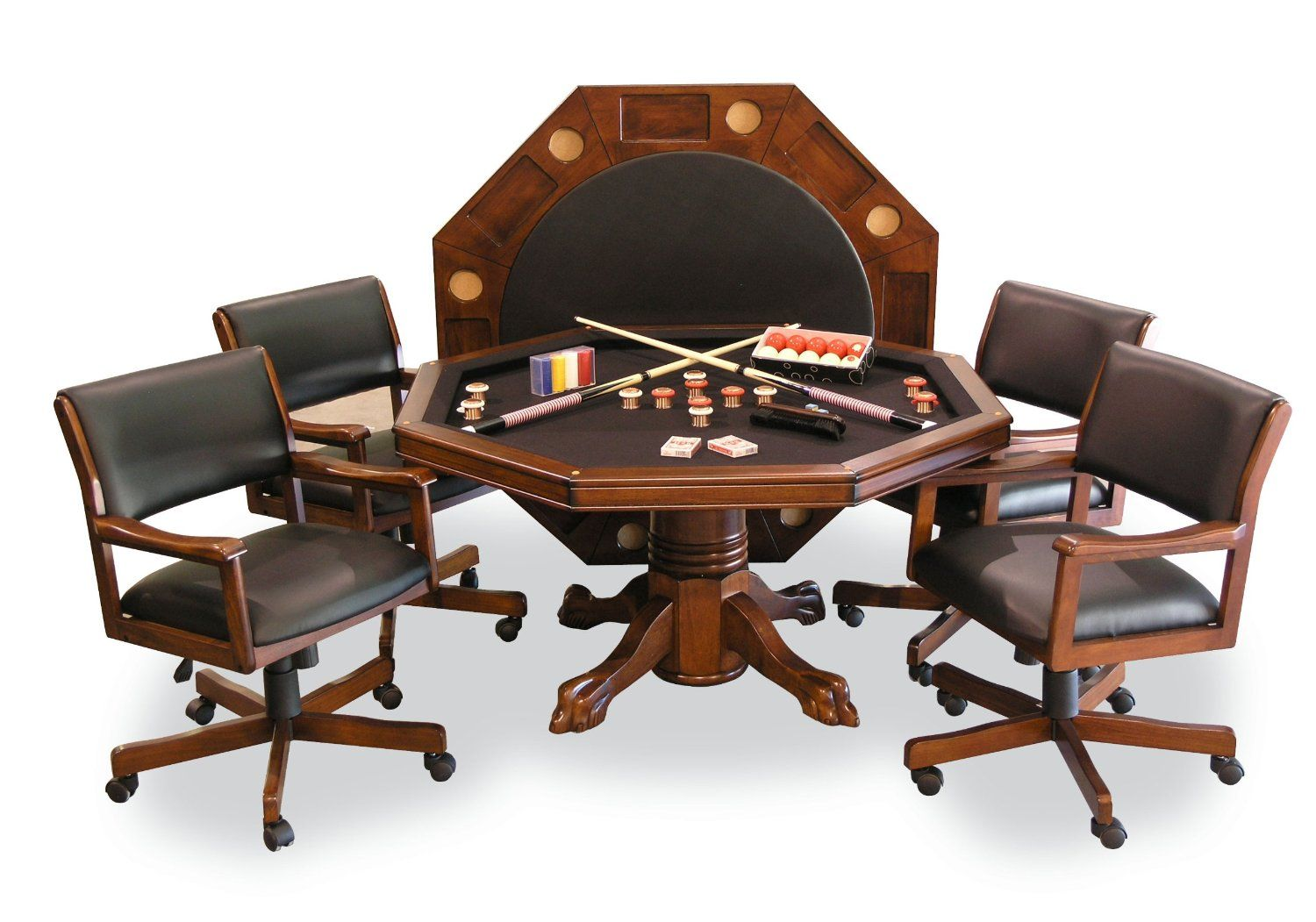 Signature Combination Game Table Set W/ 4 Chairs   Chestnut   Bumper Pool /  Poker And Game Play Tables   A Complete Family U0026 Friends Fun Experience!