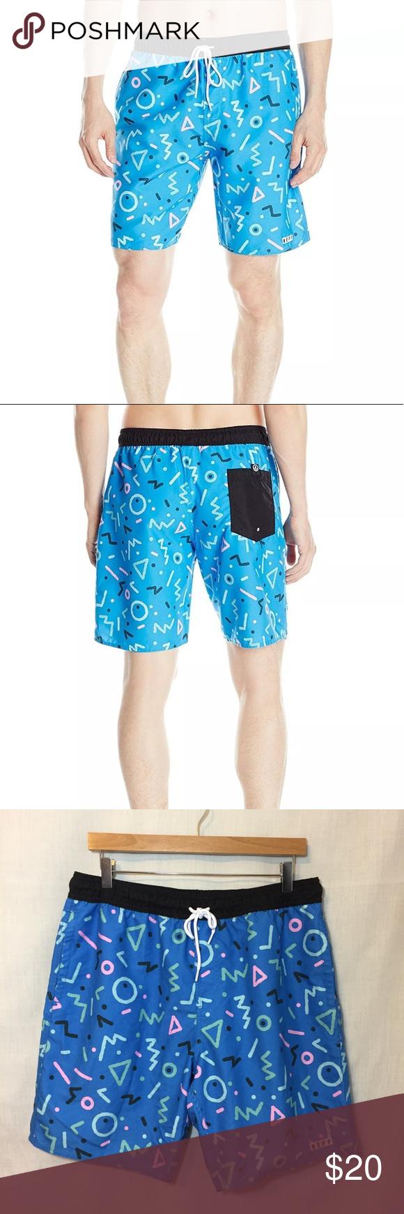 HP🌈 Neff Men\'s Gnar Hot Tub Short Blue Print Sz L