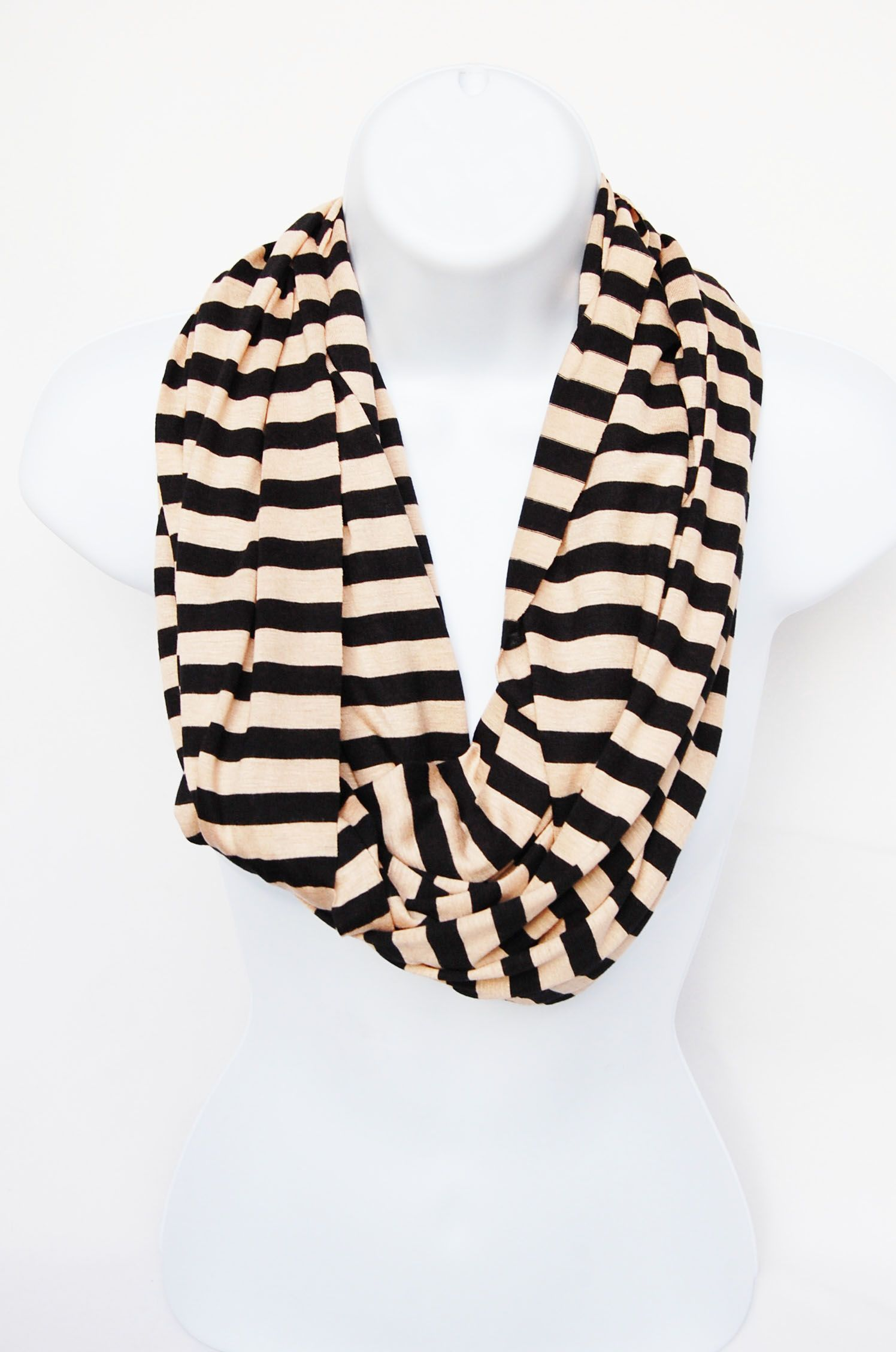 Tan and Black striped infinity scarf. Knit material and light weight ...