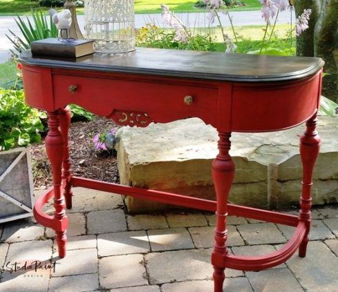 Peachy Emperors Silk Painted Sofa Table Desk Hickory Painted Home Interior And Landscaping Dextoversignezvosmurscom