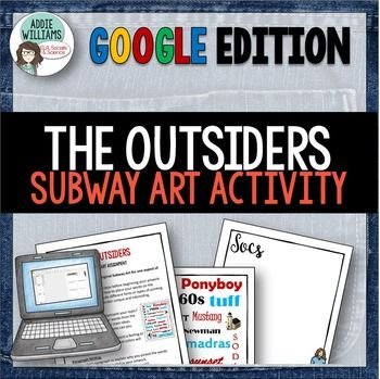 THE OUTSIDERS Subway Art Google Activity - A fun and unique way to get students…