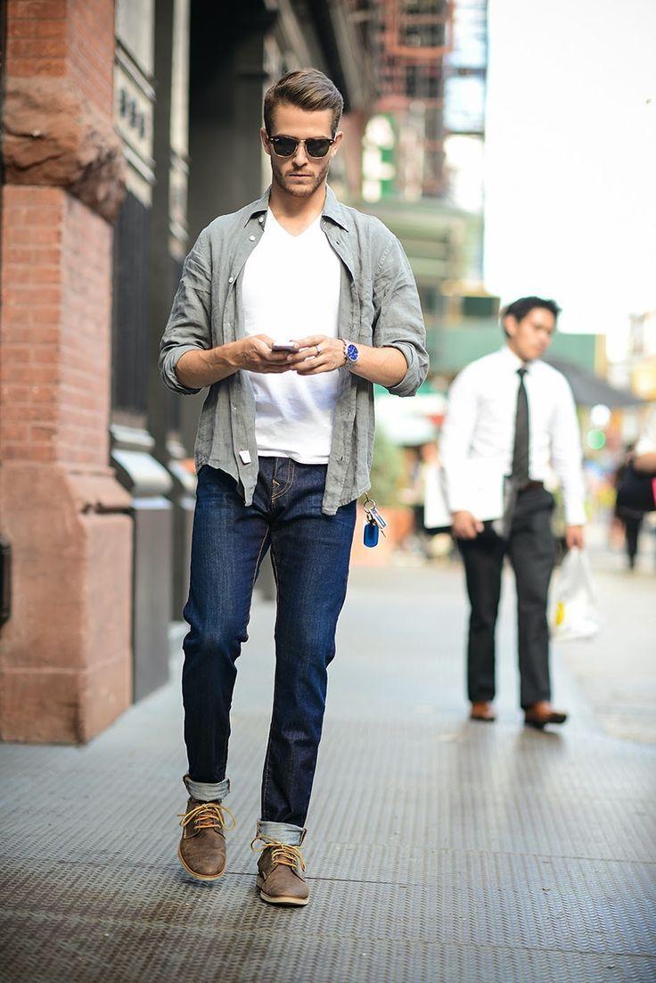 men's grey long sleeve shirt, white v-neck t-shirt, navy jeans