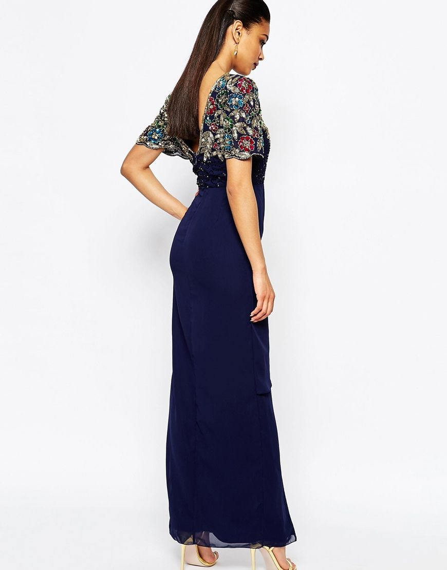 83ab4d4318 Image 2 of Virgos Lounge Ariann Embellished Maxi Dress With Frill Wrap Skirt