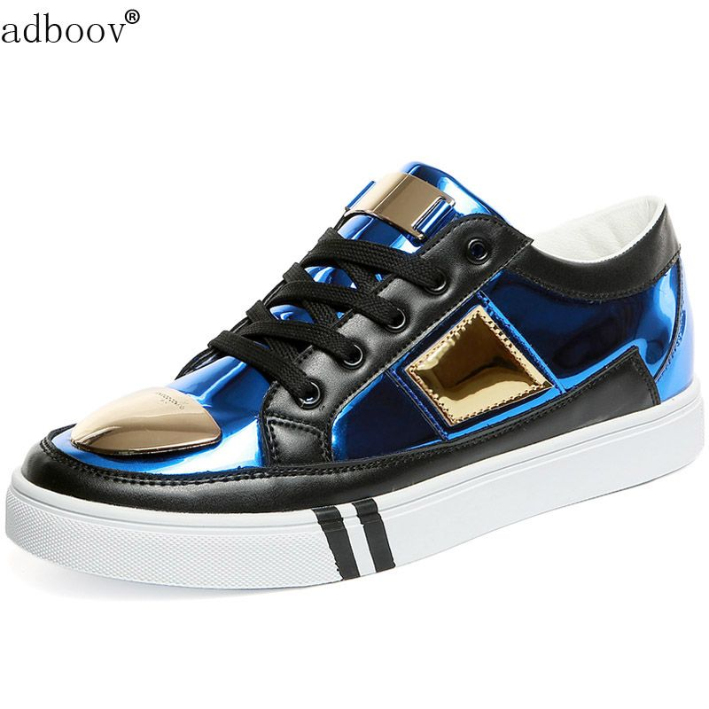 Free Shipping  Buy Best man glossiness golden silver blue color casual shoes  have gold metal on vamp sheen model mens shoes shiny cool youth boys shoes  ... 2655792f9789