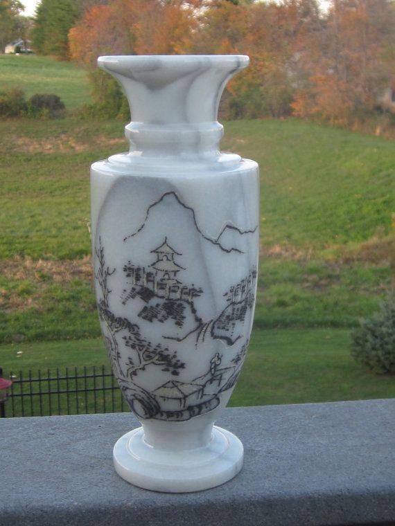Antique Marble Etched Asian Design Vase Etsy Asian Design Oriental Design Vase