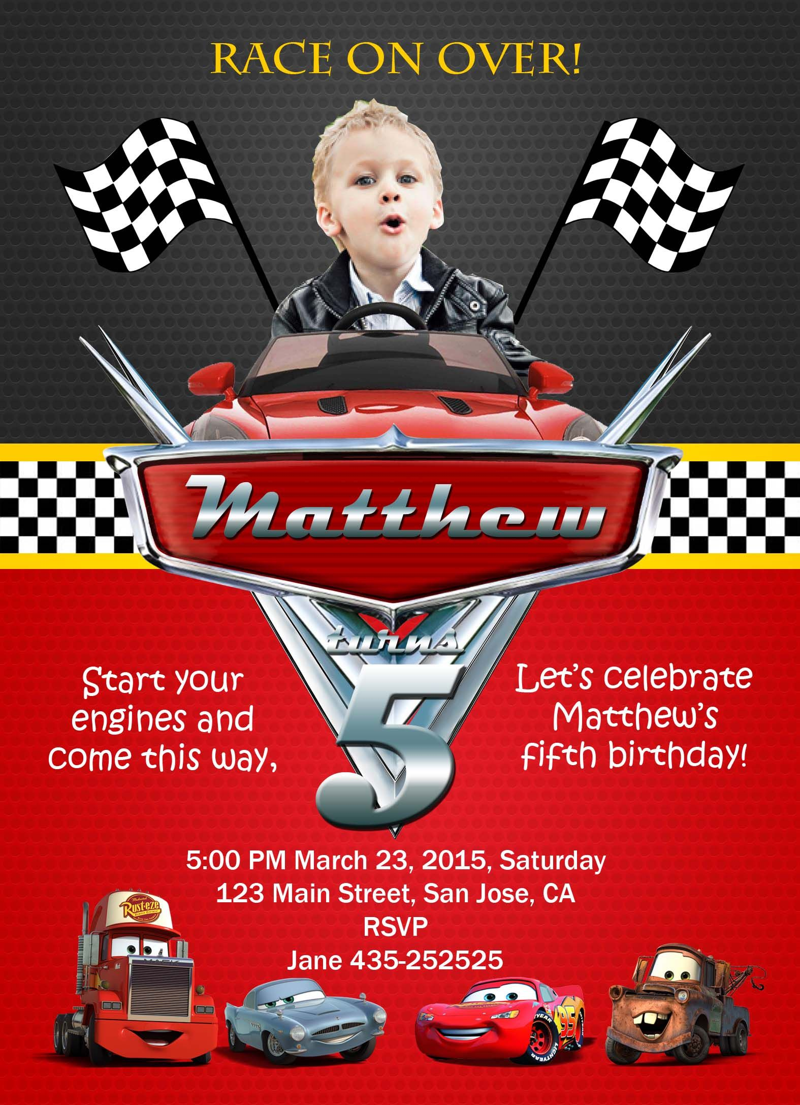 Disney cars birthday invitation card for more birthday cards