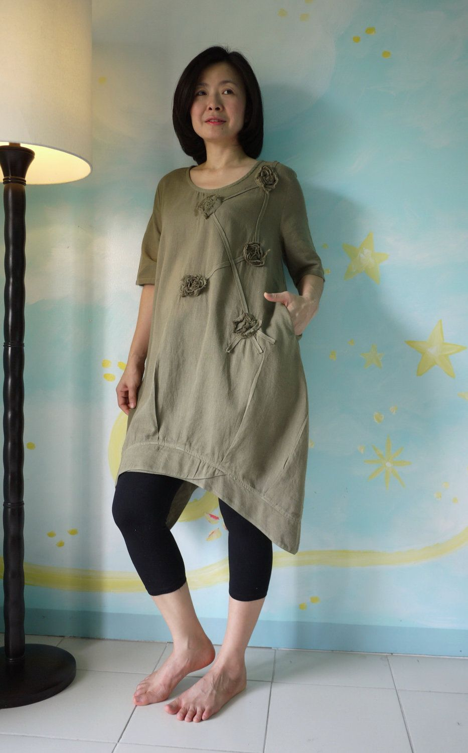 Funky Blossom...Floral Applique Hand-Dyed Olive Green Light Linen Mix Cotton Blouse Tunic Dress With Asymmetrical Hem. $52.00, via Etsy.