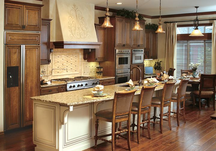 Wood Cabinets With Painted Island Finish With