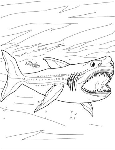 Megalodon Shark Coloring Page For The Grandsons And Daugthers In