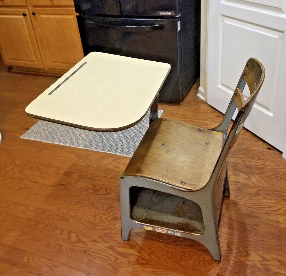 Vintage Student wooden chair attached desk combo storage
