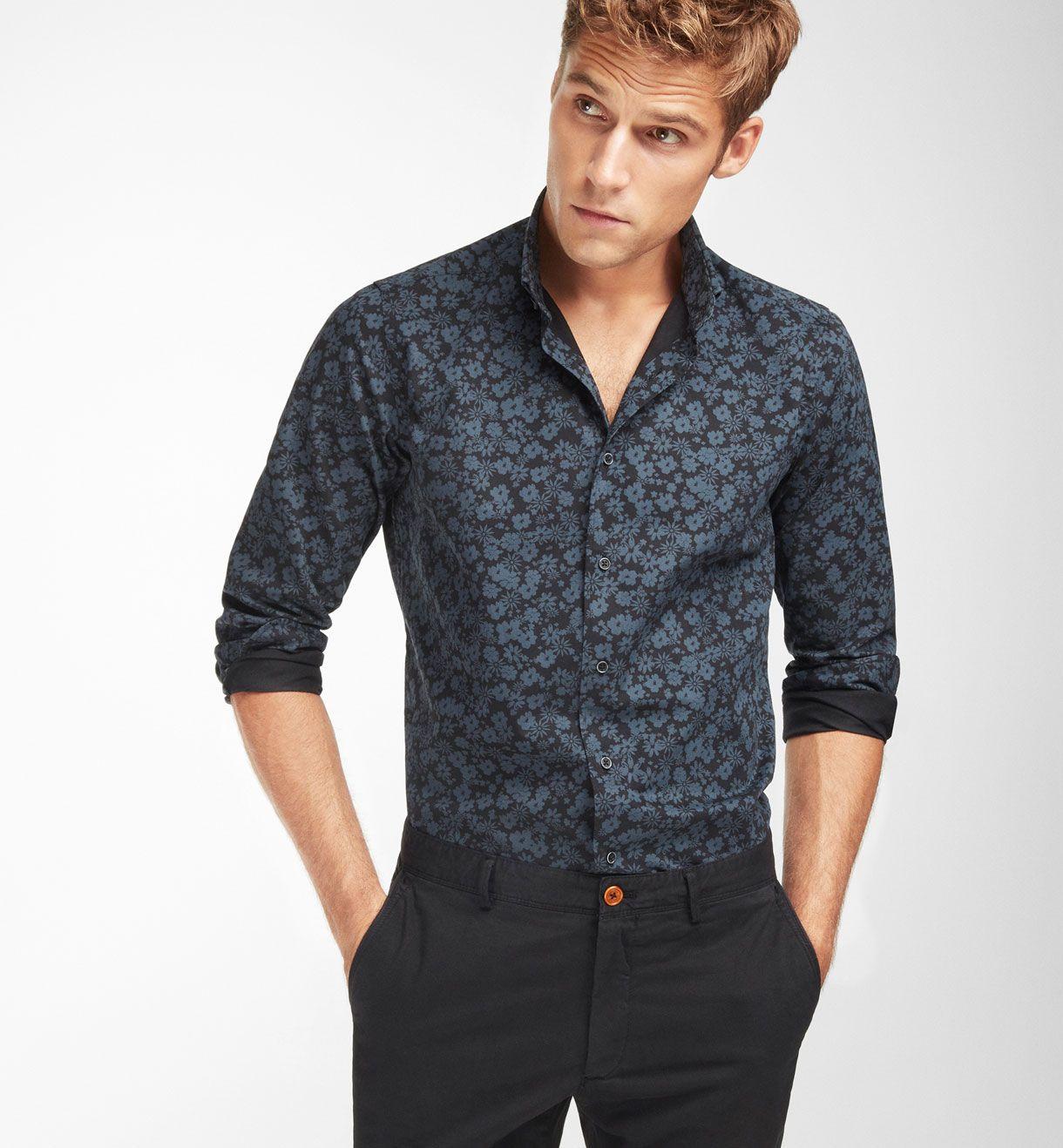 SLIM FIT FLORAL PRINT BLACK SHIRT ,Casual shirts - MEN - Massimo ...