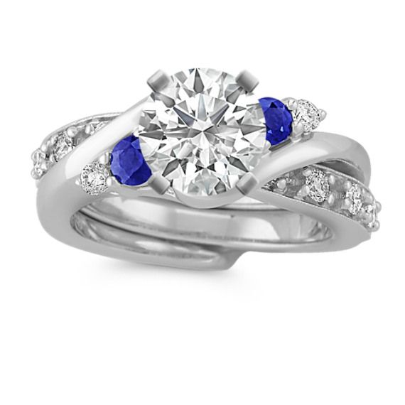 Swirl Round Sapphire And Diamond Wedding Set Diamond Wedding
