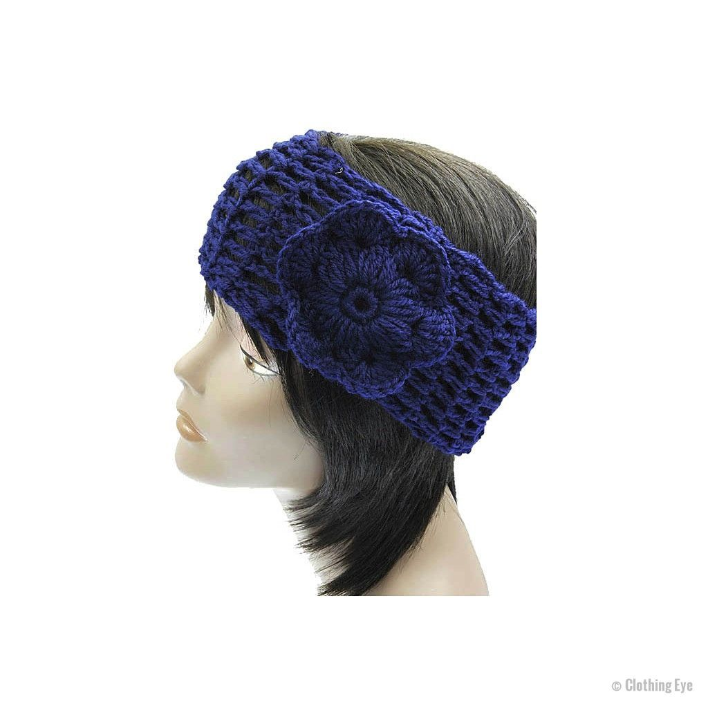 Blue Flower Knit Headband