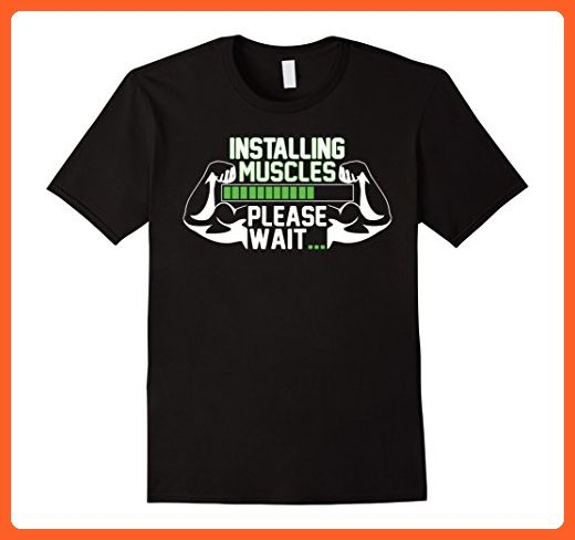 Mens INSTALLING MUSCLES PLEASE WAIT FUNNY FITNESS T SHIRT XL Black - Funny shirts (*Partner-Link)
