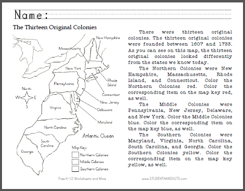 Thirteen Original Colonies Map - Primary Worksheet - Free to print ...