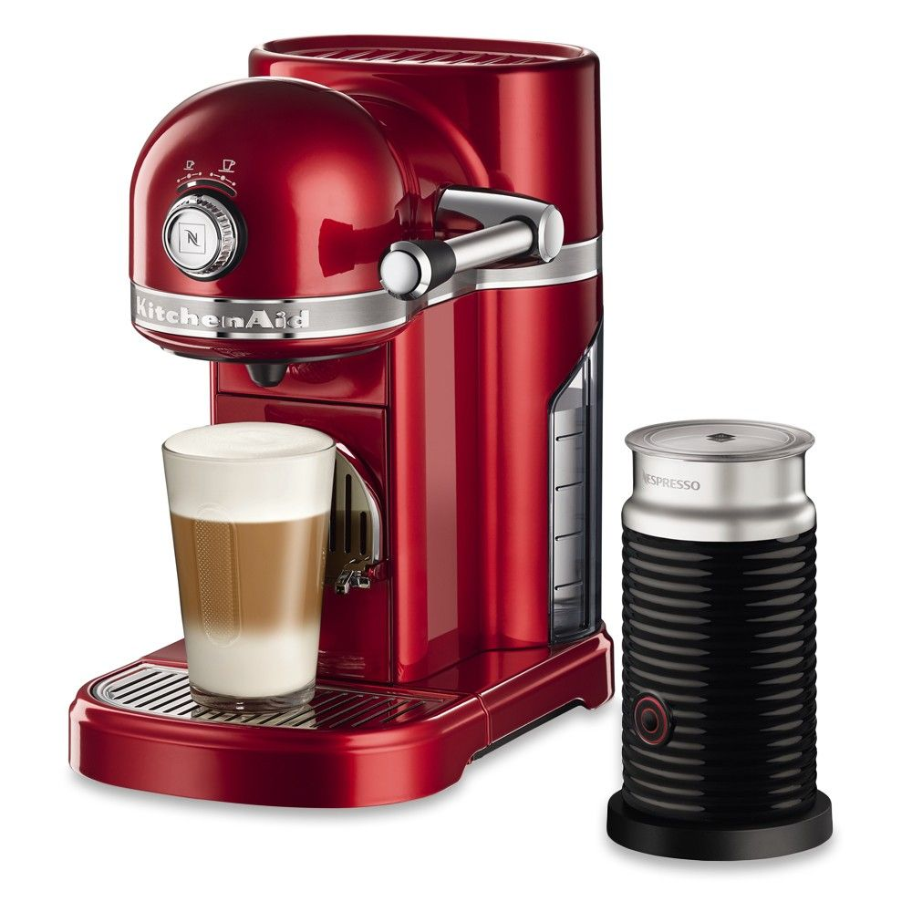 Nespresso KitchenAid Candy Apple Red with Aeroccino 3 Milk Frother ...