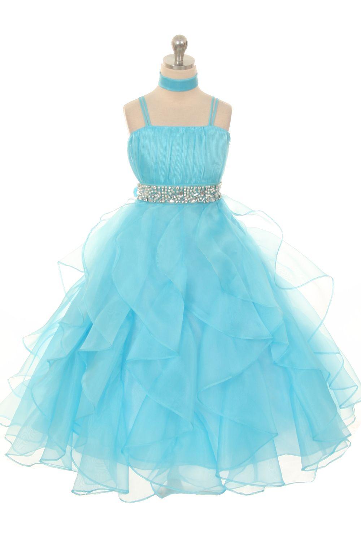 Wishesbridal Blue Formal Spaghetti Strap Floor Length #Organza A Line #GirlsPageantDress B3gd0005