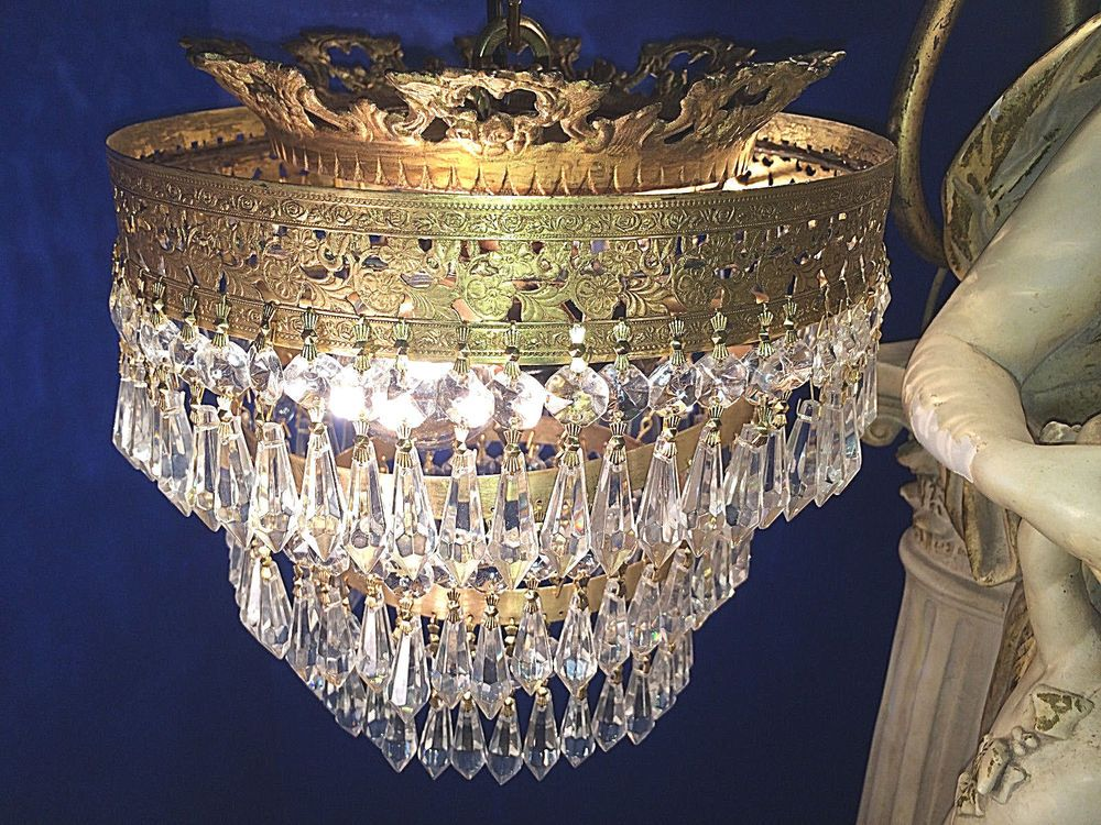 THE FINEST ANTIQUE NYC ART DECO 3 TIER CROWNED WEDDING CAKE CRYSTAL  CHANDELIER!~ - The Finest Antique Nyc Art Deco 3 Tier Crowned Wedding Cake Crystal