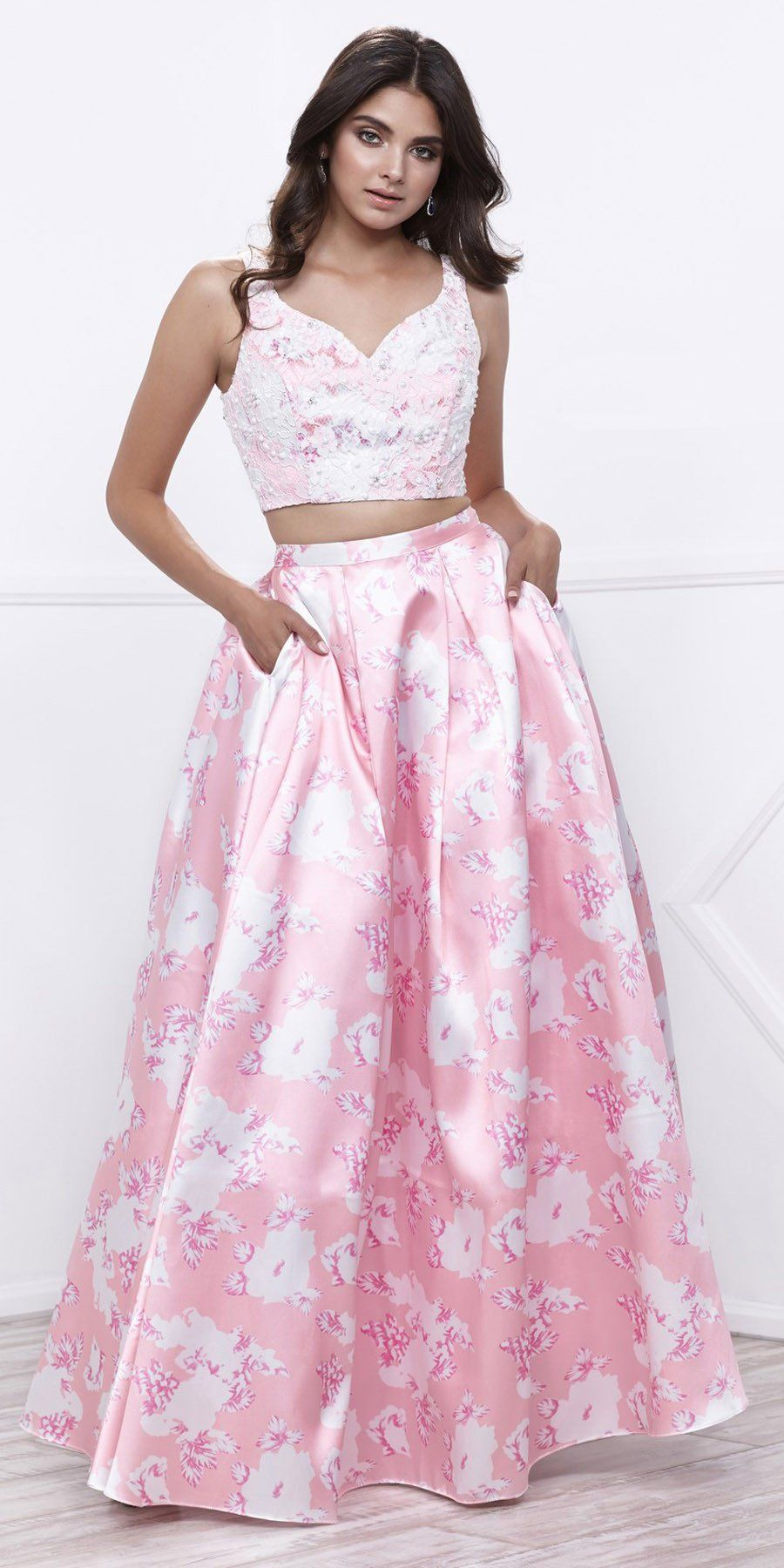 Lace top satin floral printed skirt twopiece prom dress long pink