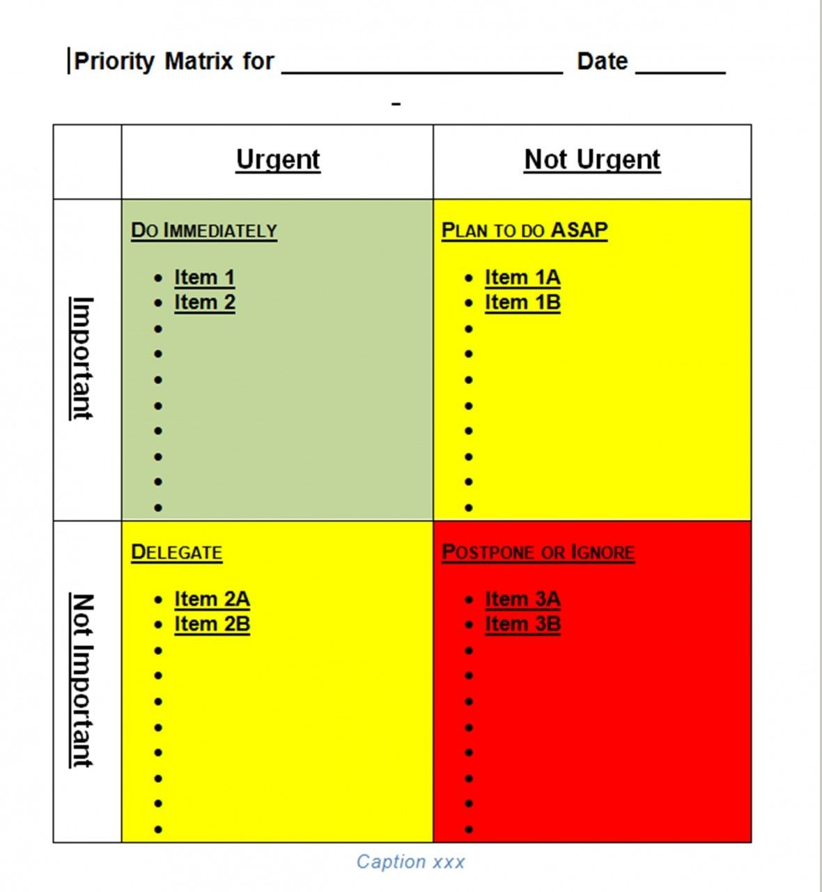 Priority matrix template for word tool store priorities for Prioritizing tasks template