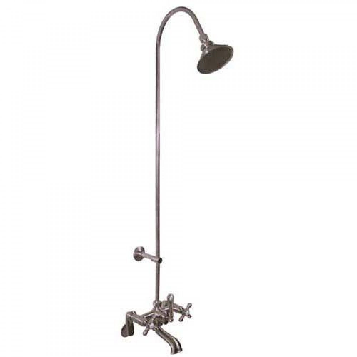 Exposed Pipe Shower & Tub Faucet With Watering Can Shower Head ...