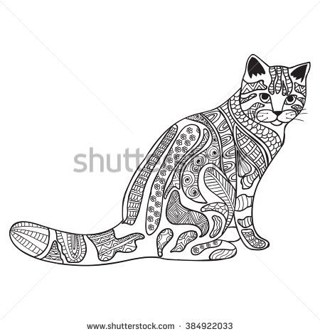 Stock Vector Cat Anti Stress Coloring Book For