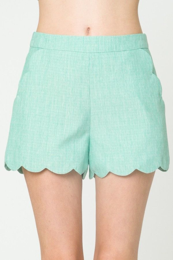 Mint Scalloped Trouser Shorts