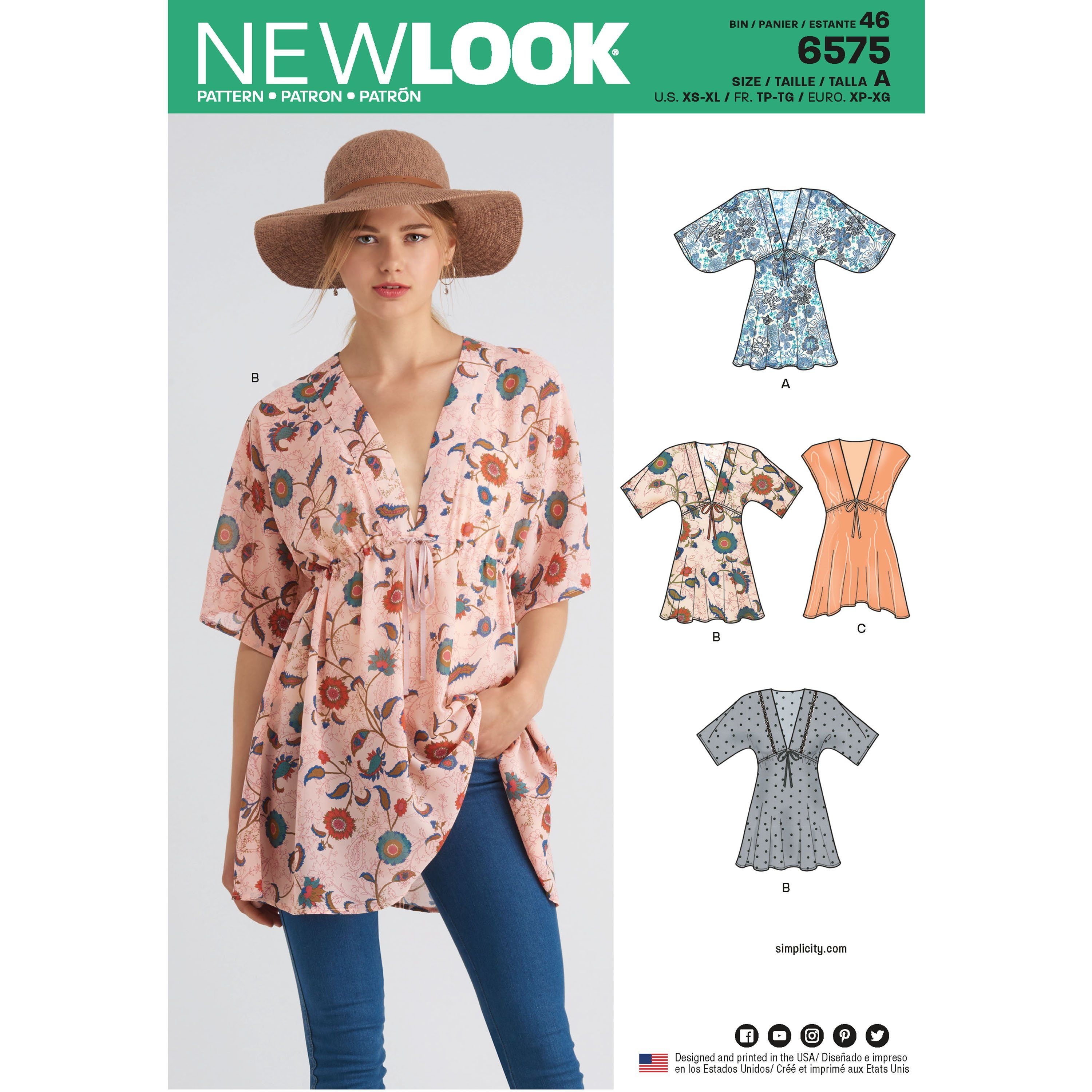 New Look 6575 Misses Tunics Tunic Sewing Patterns Sewing