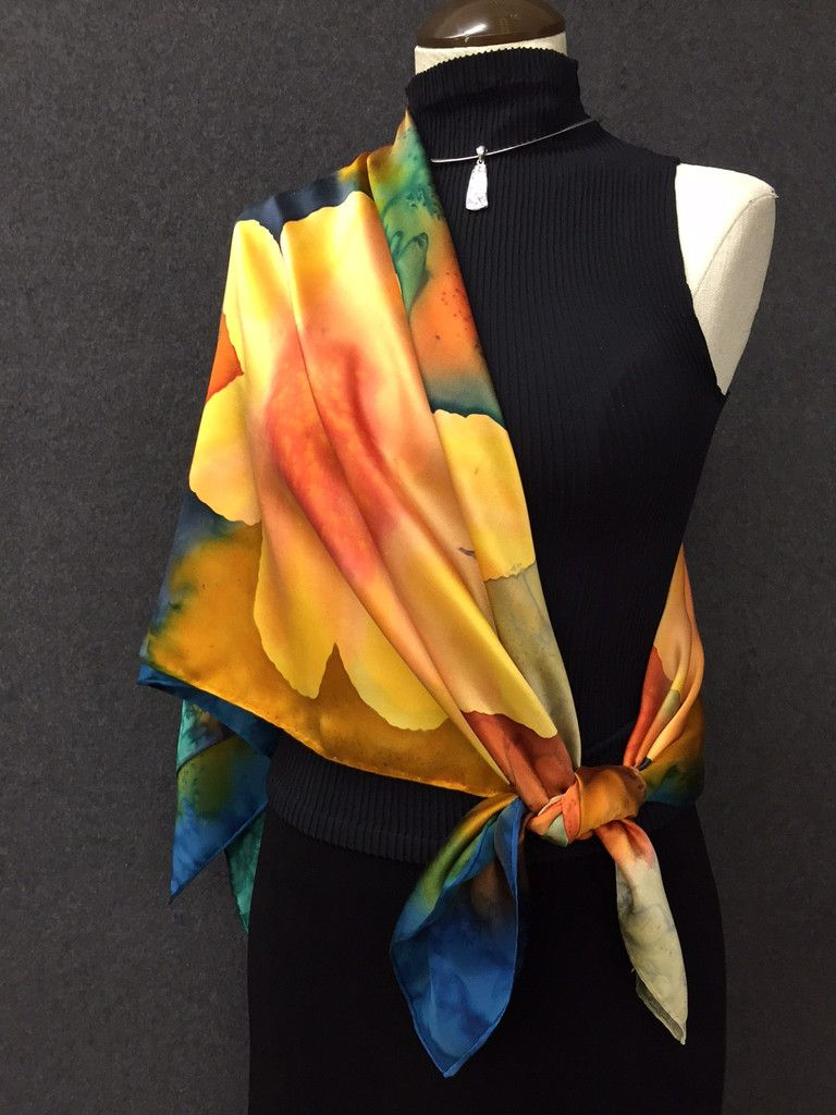 Hand Painted Silk Scarf / wrap / belt - Silks by Tonya
