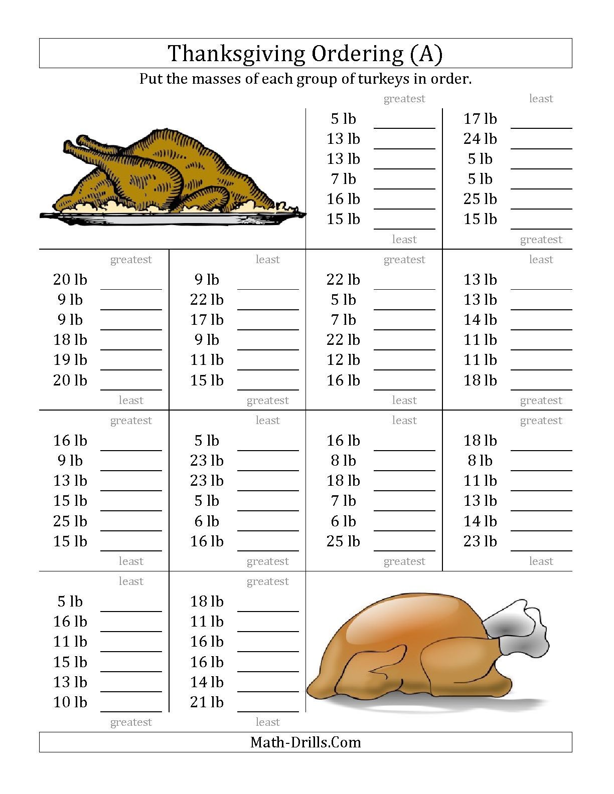 Worksheets Thanksgiving Math Worksheets the ordering turkey masses in pounds a math worksheet from thanksgiving page at drills com