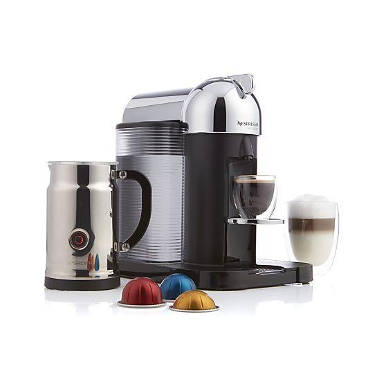 Nespresso By Breville Vertuoline Chrome Coffee Espresso Maker Bundle Reviews Crate And Barrel Coffee And Espresso Maker Coffee Nespresso