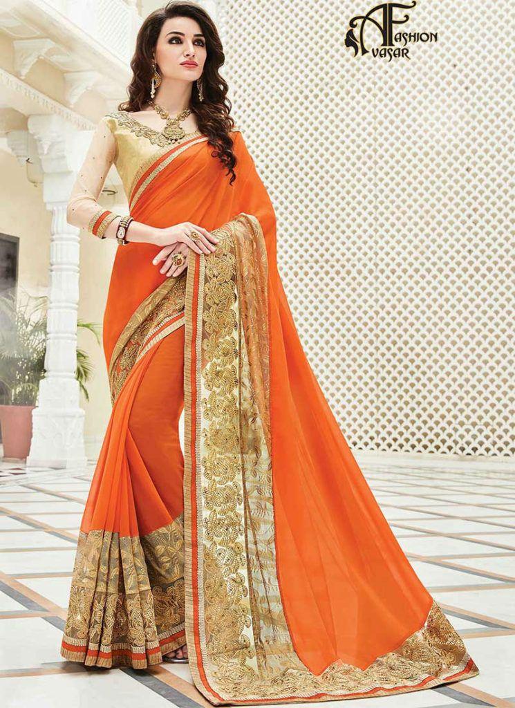 543c84a35c8811 Orange Saree With Golden Blouse
