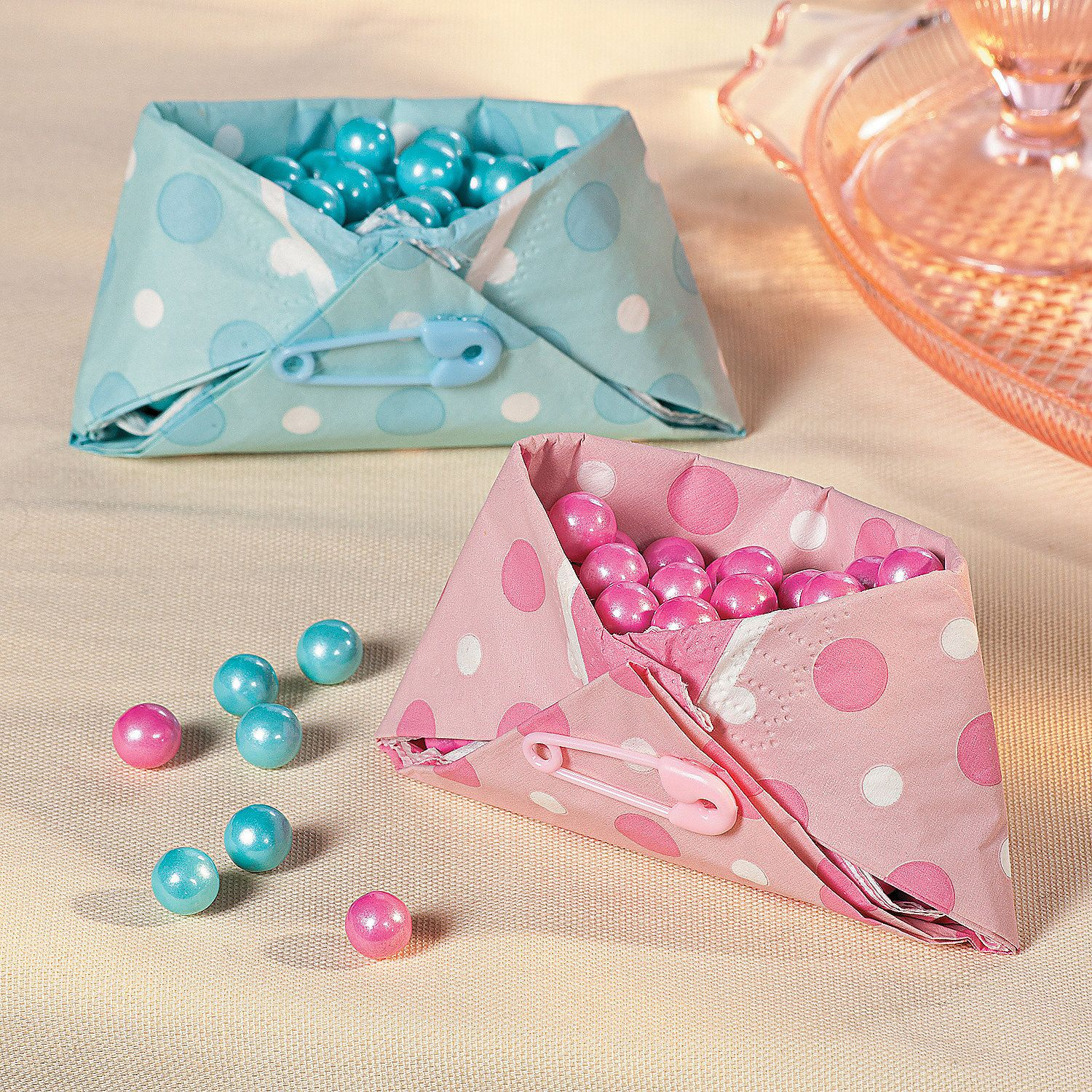 Good Baby Shower ~ Decorations ~ Tutorial ~ Napkin Diaper Treat Cup {via  OrientalTrading.com
