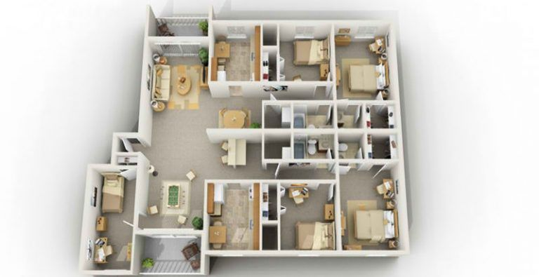 Delightful Marvelous 4 Bedroom Apartments Five Bedroom Apartments In Blacksburg Va 5 Bedroom Student Plans De Maison De Reve Plan Maison Maison
