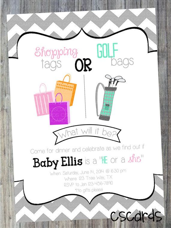 Gender Reveal Party Invitation Shopping Tags Or Golf Bags He Gender Reveal Baby Shower Invitations Gender Reveal Party Invitations Gender Reveal Invitations
