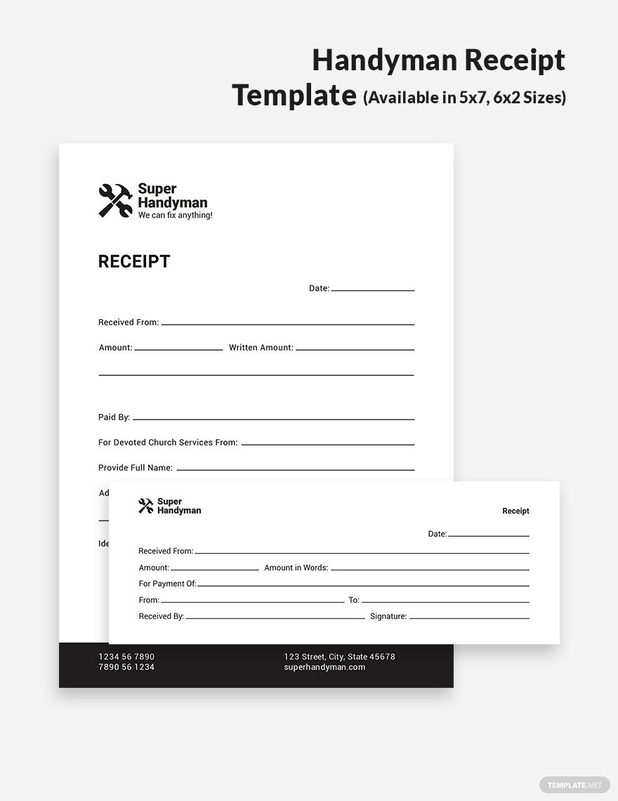 Handyman Receipt Template Illustrator Indesign Word Apple Pages Psd Publisher Template Net Receipt Template Templates Document Templates